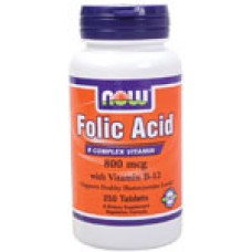 Now Folic Acid 800 мкг + B12 25 мкг - 250 таблетки