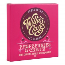 Бял шоколад с Малини 50 г - Willie's Cacao