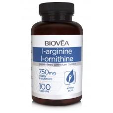 L-ARGININE / L-ORNITHINE (750mg) 100 капсули - улеснява качването на мускулна маса, съдейства за производството на енергия